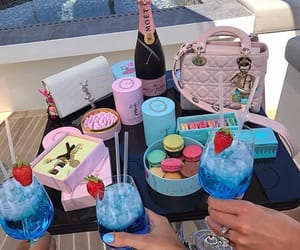 blue, macarons, and champagne image