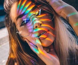 girl, beauty, and rainbow image