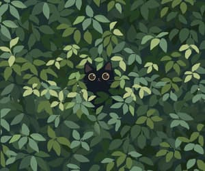 animal, cat, and leaves image