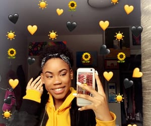 black and yellow, hearts, and smile image