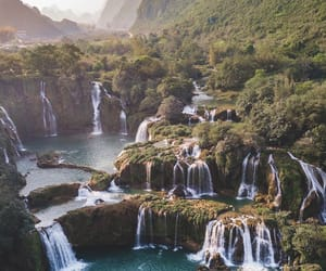 epic, trees, and waterfalls image