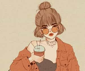 coffee, glasses, and girl image