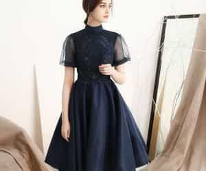 girl, satin, and formal dress image