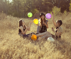 friends, balloons, and girl image