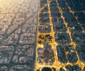 Barcelona, lights, and night vs. day image