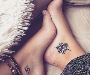 tattoo, feet, and lotus image
