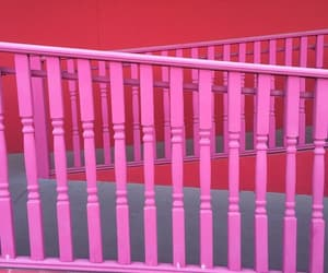 pink, stairway, and railing image