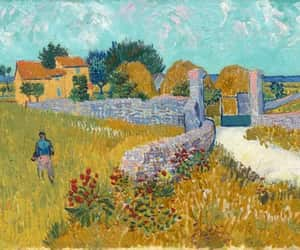 farmhouse, painting, and van gogh image