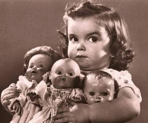 doll, girl, and black and white image