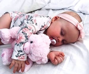 baby, pink, and bow image