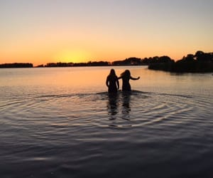 strong, sunset, and water image