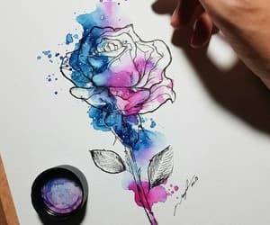 ink, roses, and illustration image