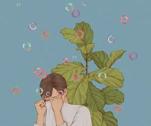 art, boy, and bubbles image