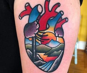 art, heart, and heart tattoo image