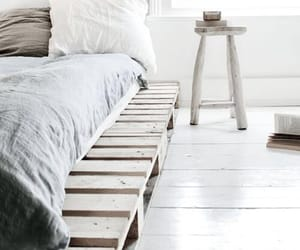 bed, bedroom, and white image