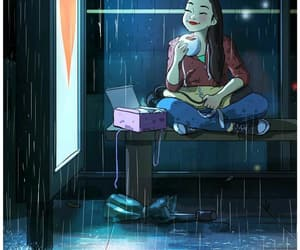girl and rain image