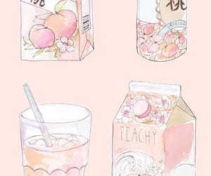 art, peach, and drink image
