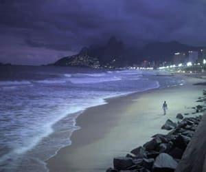 beach, night, and sea image