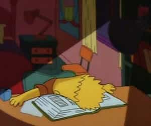 bart, study, and the simpsons image