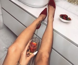 champagne, heels, and shoes image