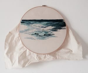blue, embroidery, and ocean image
