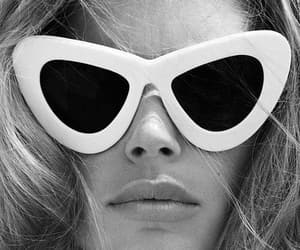 model, sunglasses, and black and white image