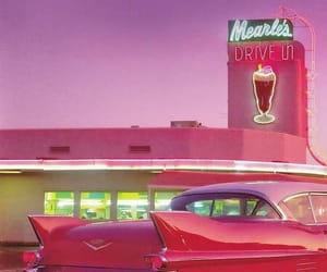 car, pink, and retro image