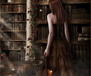girl, books, and fantasy image