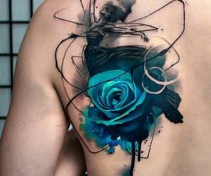 ballet dancer, rose, and tattoo image