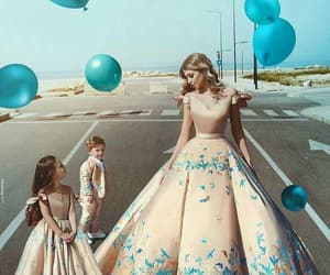 dress, family, and blue image