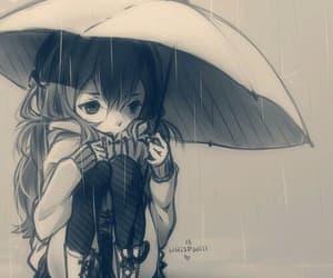 anime, girl, and rain image