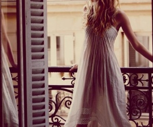 dress, balcony, and blonde image