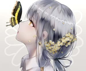 adorable, anime, and butterfly image