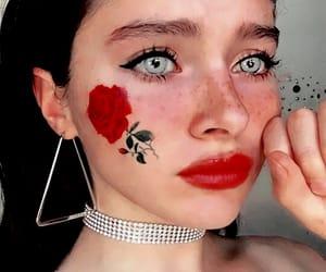 girl, rose, and makeup image