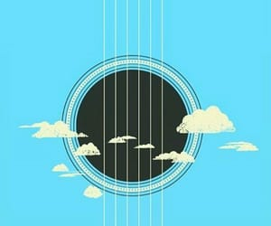 guitar, clouds, and sky image
