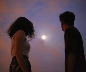 moon, couple, and sky image