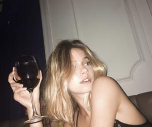 girl, wine, and blonde image
