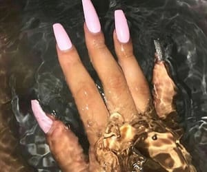 nails, pink, and water image