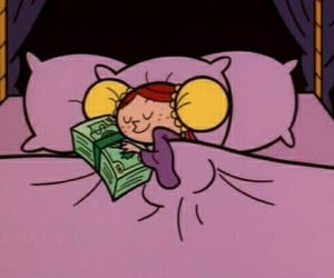 money, cartoon, and sleep image