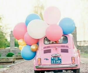 pink, car, and balloons image
