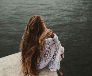 hair, hairstyle, and lake image