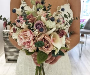 flowers, wedding, and wedding dress image