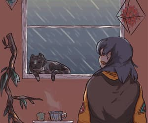 girl, cat, and rain image