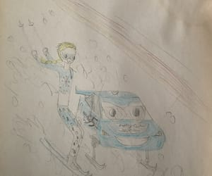snow queen, lightning mcqueen, and downhill skiing image