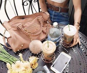 bag, flowers, and coffee image