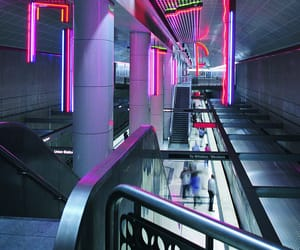 escalators, neon, and stairs image