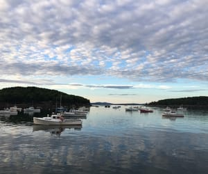 blue, boats, and clouds image