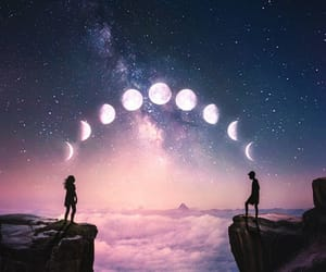 moon, couple, and clouds image