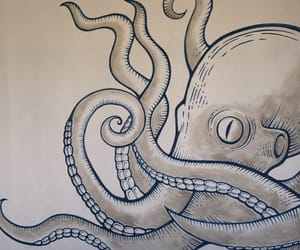 art, beach, and octopus image