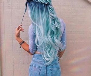 Bleu, cheveux, and long image
